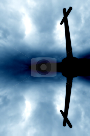 Cross stock photo, Cross silhouette and the clouds with water reflection by Rui Vale de Sousa