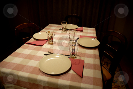 Diner table stock photo, Dinner table ready to serve in a dark room by Rui Vale de Sousa
