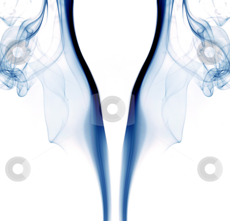 Smoke stock photo, Blue abstract smoke in a white background by Rui Vale de Sousa