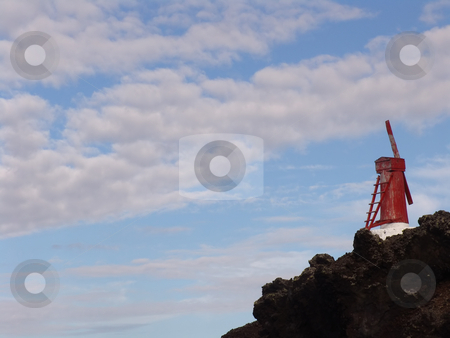 Windmill stock photo, Azores windmill at the coast by Rui Vale de Sousa