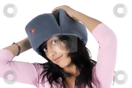 Woman stock photo, Young girl with a russian hat portrait by Rui Vale de Sousa