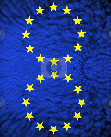 Flag stock photo, Europe flag among clouds illustration, computer generated by Rui Vale de Sousa