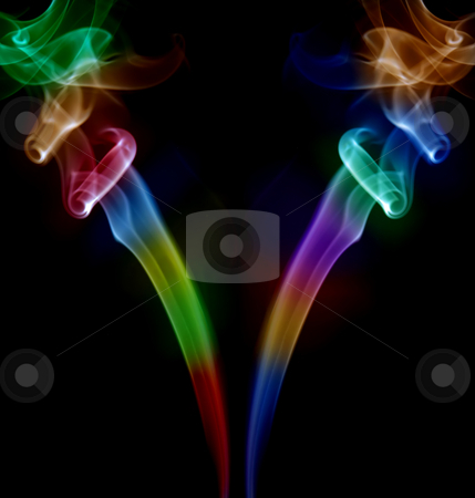 Smoke stock photo, Colored smoke lines in a black background by Rui Vale de Sousa