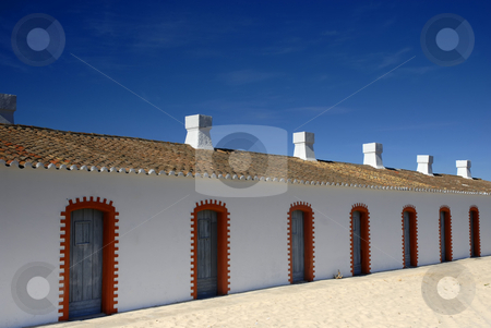 House  stock photo, Old white house detail in algarve beach by Rui Vale de Sousa