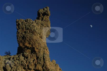 Rock stock photo, Mountain rock and the moon by Rui Vale de Sousa
