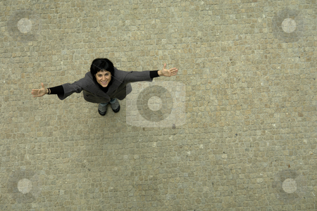 Winning stock photo, Happy woman with open arms, view from above by Rui Vale de Sousa