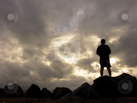 Silouette stock photo, Man at the sunset by Rui Vale de Sousa
