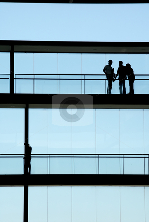 Workers stock photo, People inside the modern building in silhouette by Rui Vale de Sousa
