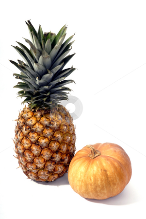 Fruits stock photo, Pineapple and a pumpkin in a white background by Rui Vale de Sousa