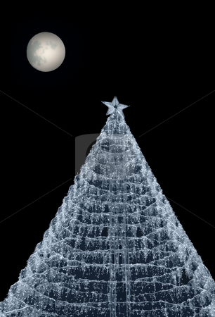 Tree stock photo, Computer generated christmas tree with a moon in the sky by Rui Vale de Sousa