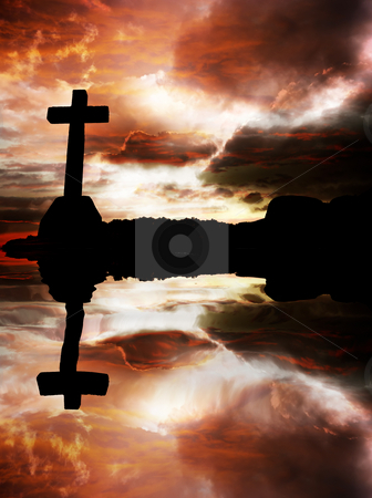 Cross stock photo, Cross silhouette at sunset with water reflection by Rui Vale de Sousa