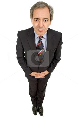 Shy guy stock photo, Mature business man isolated on white background by Rui Vale de Sousa