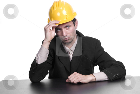 Engineer stock photo, An engineer yellow hat, isolated on white by Rui Vale de Sousa