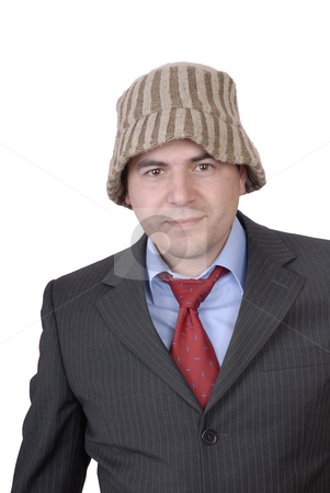 Strange stock photo, Young man portrait with a strange hat isolated on white by Rui Vale de Sousa