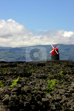 Windmill stock photo, Azores ancient windmill at azores island of Pico by Rui Vale de Sousa