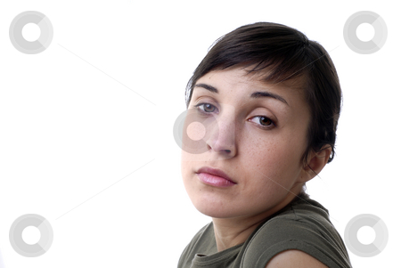 Girl stock photo, Young woman portrait in a white background by Rui Vale de Sousa