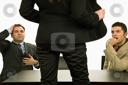 Show stock photo, Woman showing her body to two businessman by Rui Vale de Sousa