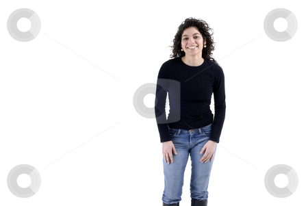 Portrait stock photo, Happy young woman portrait in a white background by Rui Vale de Sousa