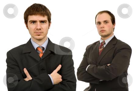 Business men stock photo, Two young business men portrait on white, focus on the left man by Rui Vale de Sousa