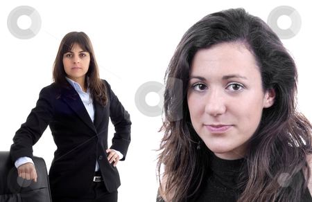 Women stock photo, Young business women isolated on white. Focus on the right woman by Rui Vale de Sousa