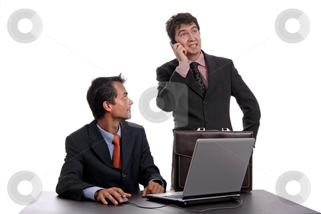 Working stock photo, Two young business man working with laptop by Rui Vale de Sousa