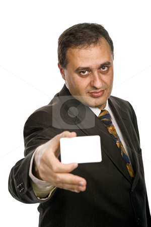 Card stock photo, Young businessman with a card, focus on the face by Rui Vale de Sousa