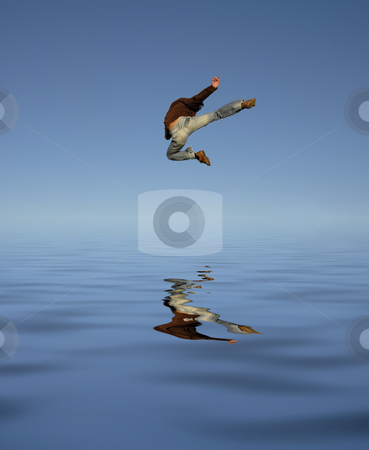 Jump kick over water stock photo, Young man jumps high with water reflection by Rui Vale de Sousa