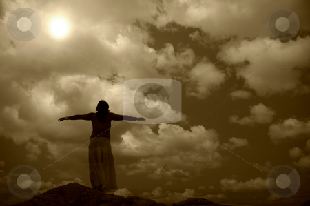 Woman stock photo, Woman with arms wide open at the coast in sepia by Rui Vale de Sousa