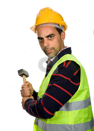 Worker stock photo, Young casual worker portrait with a hammer by Rui Vale de Sousa