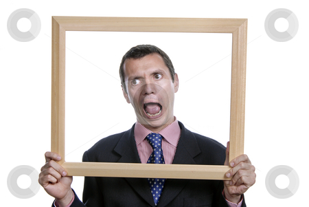 Silly stock photo, Young silly business man portrait inside a frame by Rui Vale de Sousa