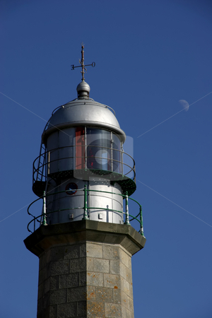 Lighthouse stock photo, Lighthouse detail with blue sky and moon by Rui Vale de Sousa