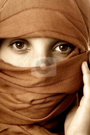 Veil stock photo, Young woman close up portrait, studio picture by Rui Vale de Sousa