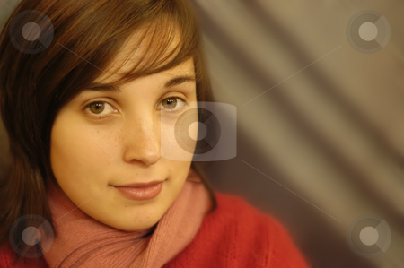 Portrait stock photo, Young casual woman in a dark background by Rui Vale de Sousa