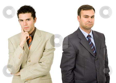 Team stock photo, Two young business men portrait on white, focus on the right man by Rui Vale de Sousa