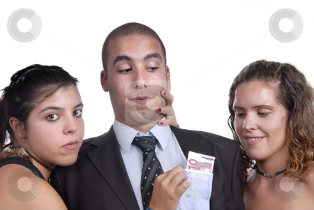 Money stock photo, Team in studio, woman takes money from man poket by Rui Vale de Sousa