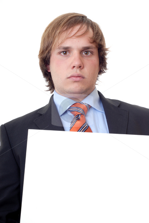 Young man with empty space on a card stock photo, Young business man with an empty card by Rui Vale de Sousa