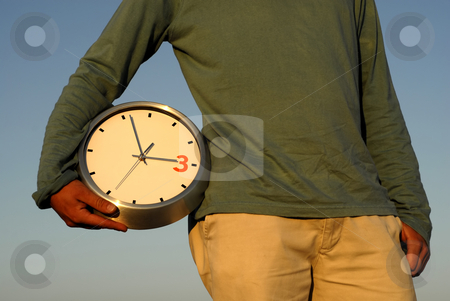 Clock stock photo, Body parts of a man with a clock by Rui Vale de Sousa