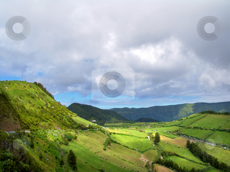 Field stock photo, Azores green fields at sao miguel island by Rui Vale de Sousa