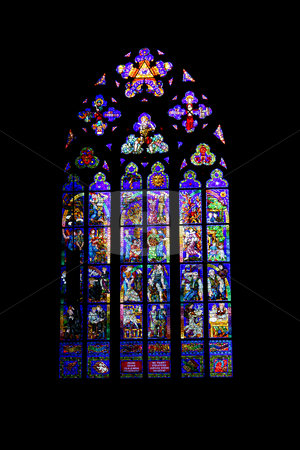 Glass stock photo, Stained glass of St Vitus cathedral in prague by Rui Vale de Sousa