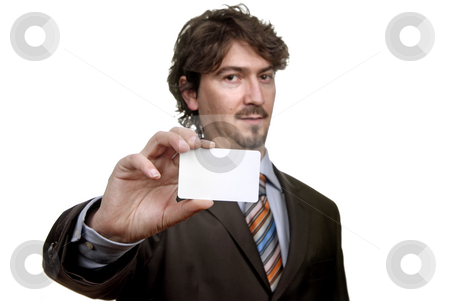 Card stock photo, Young businessman with card, focus on the card by Rui Vale de Sousa