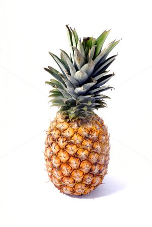 Pineapple stock photo, Big pineapple detail in a white background by Rui Vale de Sousa