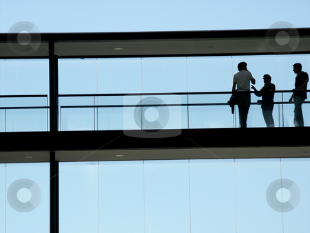 Silhouette stock photo, People inside the modern building in silhouette by Rui Vale de Sousa