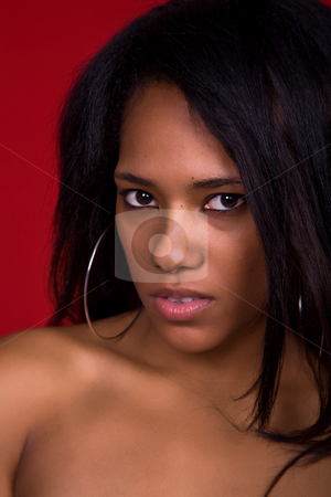 Woman stock photo, Young casual woman close up portrait, studio shot by Rui Vale de Sousa