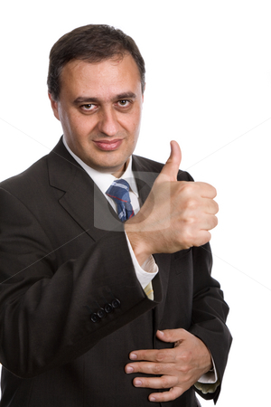 Thumb up stock photo, Business man going thumb up, isolated on white by Rui Vale de Sousa