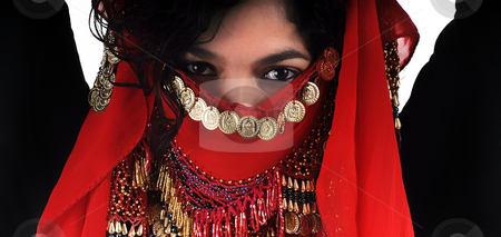 Muslim stock photo, Young woman close up portrait with arab strap by Rui Vale de Sousa