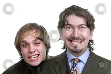 Silly stock photo, Two silly young business men portrait on white by Rui Vale de Sousa