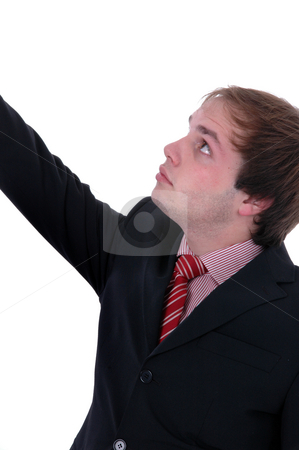 Man stock photo, Young man portrait with arm open in white background by Rui Vale de Sousa