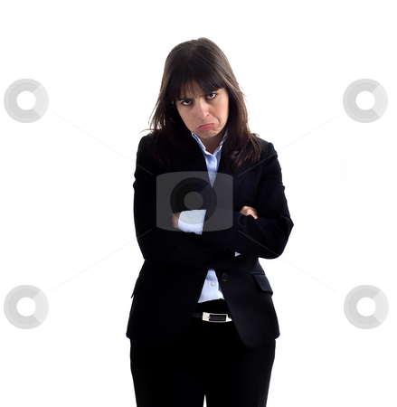 Mad stock photo, Young business woman portrait in white background by Rui Vale de Sousa