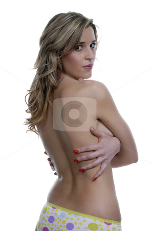 Woman stock photo, Young blond woman portrait, isolated on white by Rui Vale de Sousa