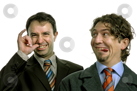 Stupid stock photo, Two silly young men portrait on white by Rui Vale de Sousa